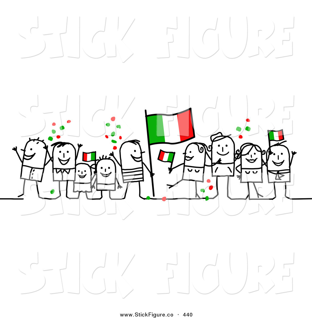 Clip Art of a Stick Figure People Character Crowd Celebrating with.