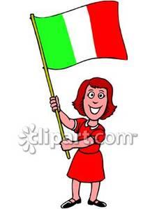 Holding An Italian Flag.