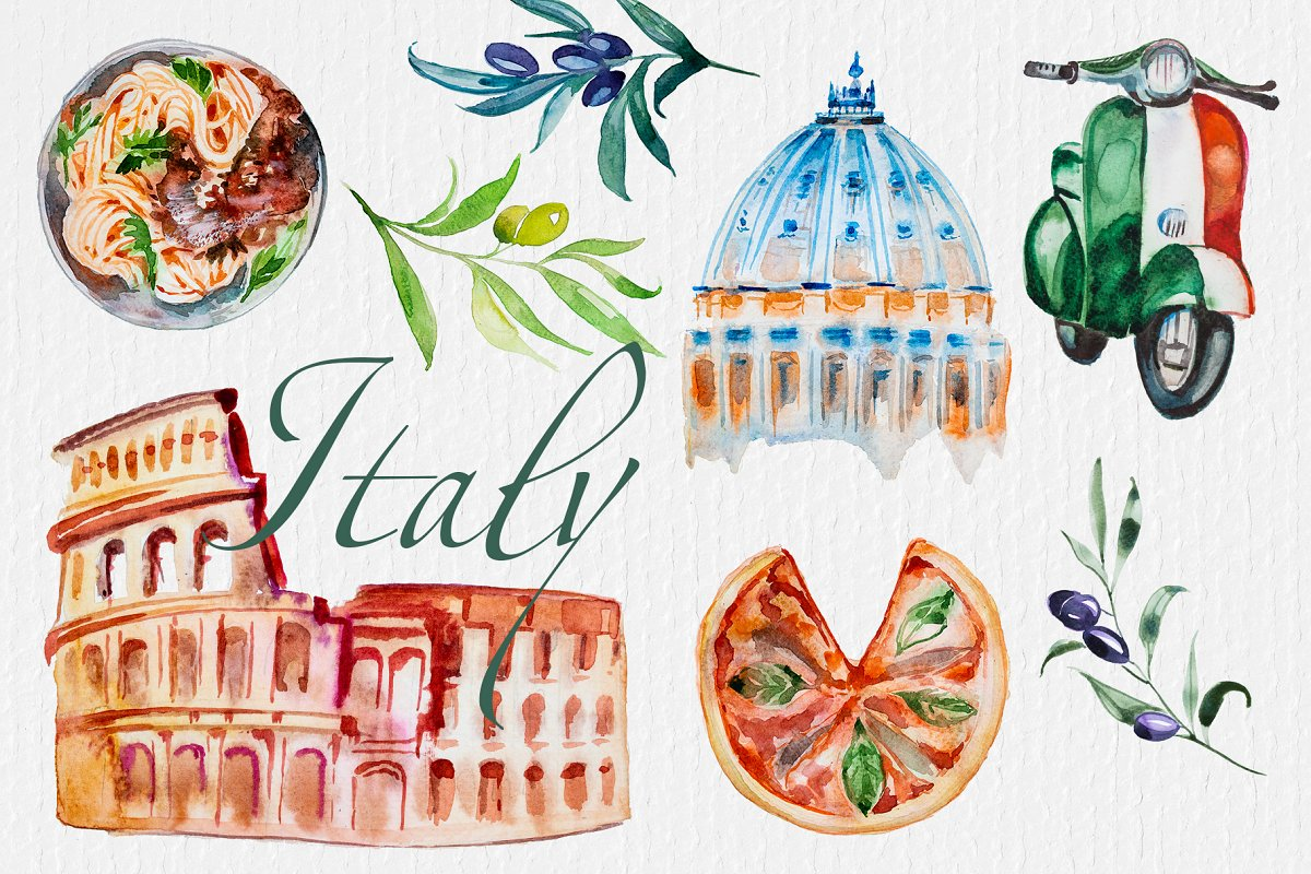 Watercolor Italy Clipart Set.