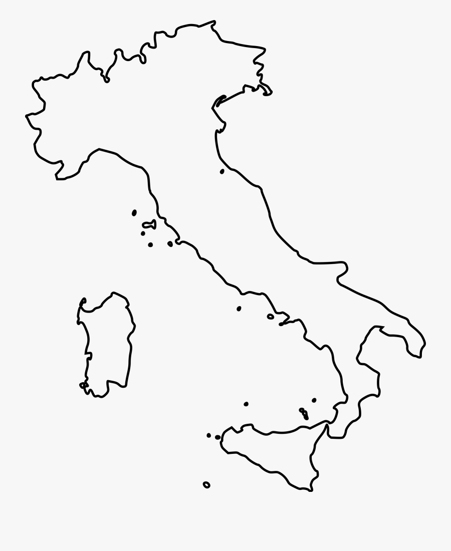 Italy Map Outline Clipart.
