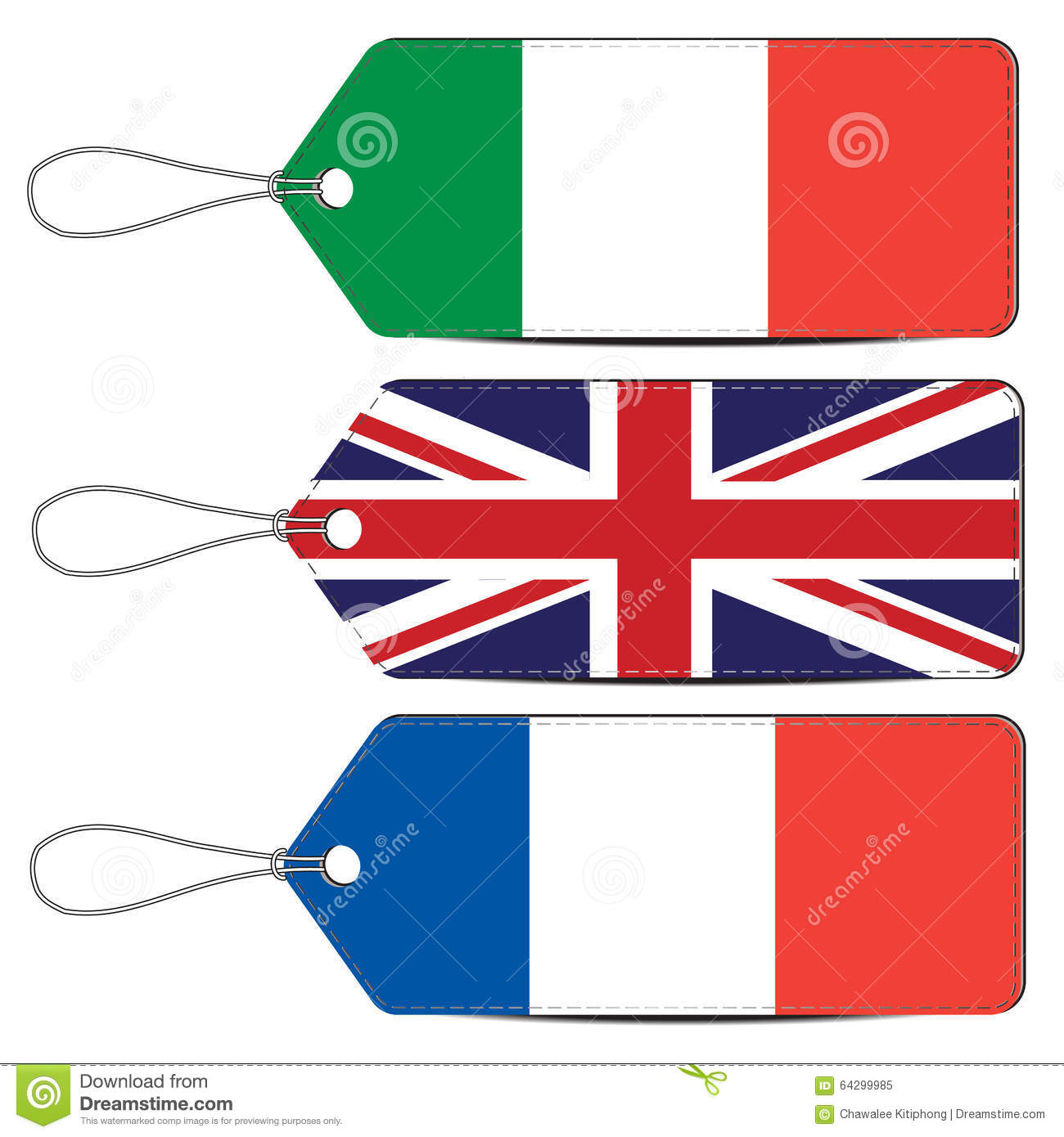 Lable Made In Italy England And France Stock Vector.