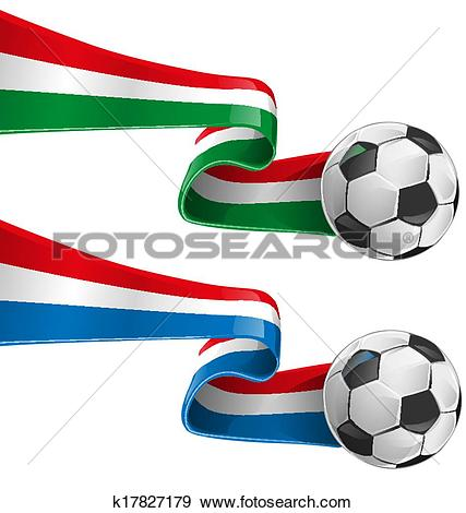 Clip Art of italy and france flag with soccer b k17827179.