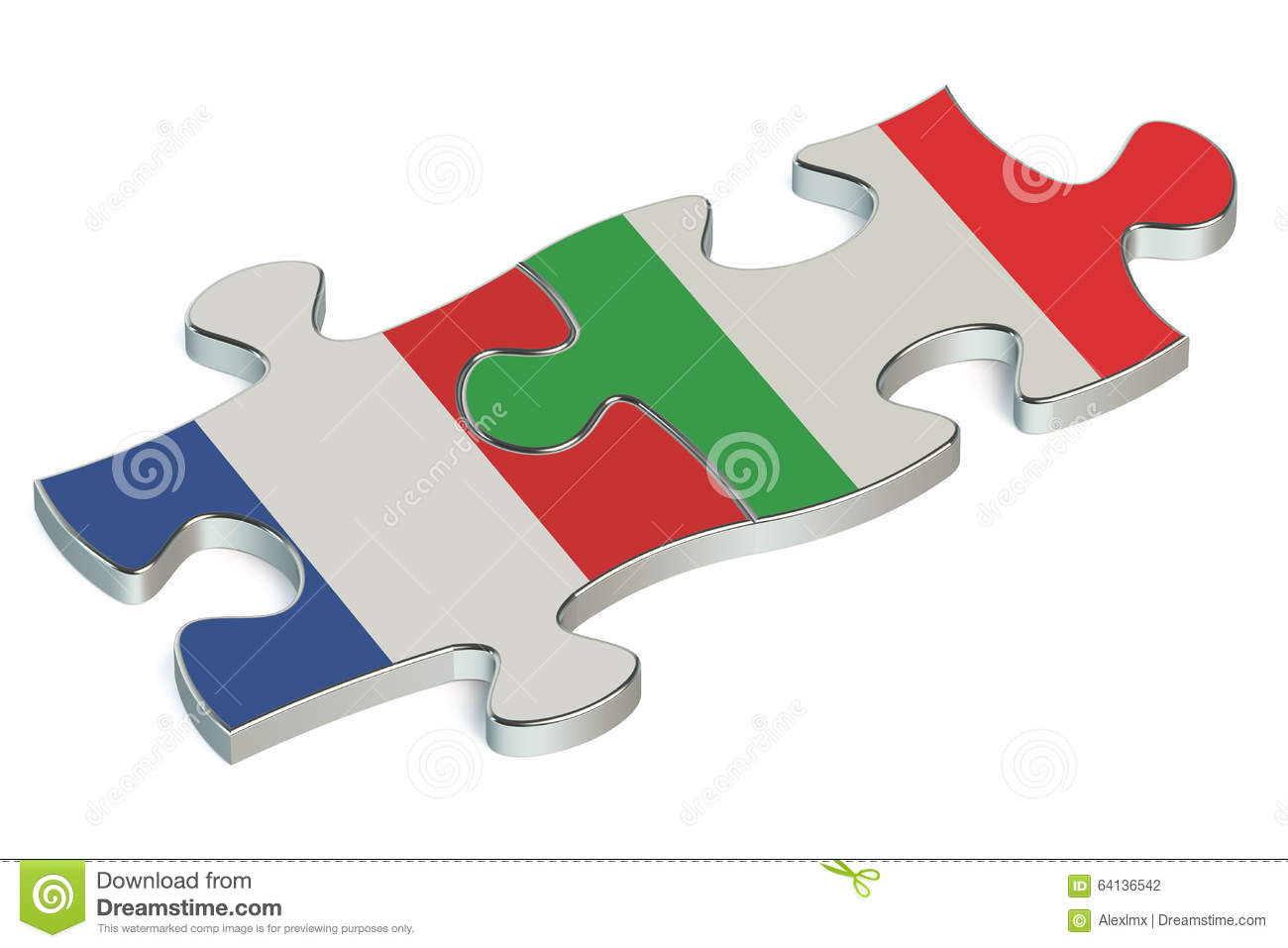 Italy And France Puzzles From Flags Stock Illustration.