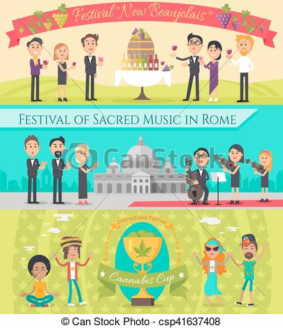 Vector Clipart of Italy France National Festivals Flat Style.