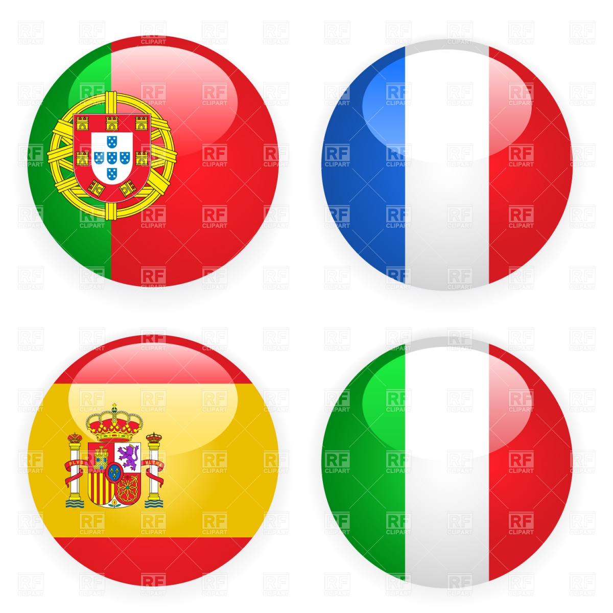 Spain, Italy, France and Portugal button flags Vector Image #1399.