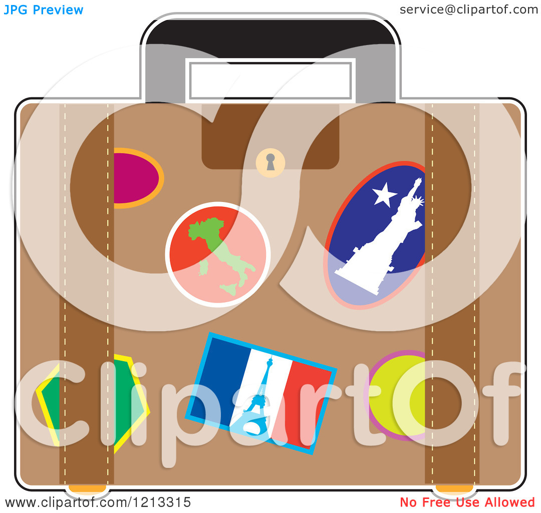 Cartoon of a Suitcase with France Italy and Usa Travel Stickers.