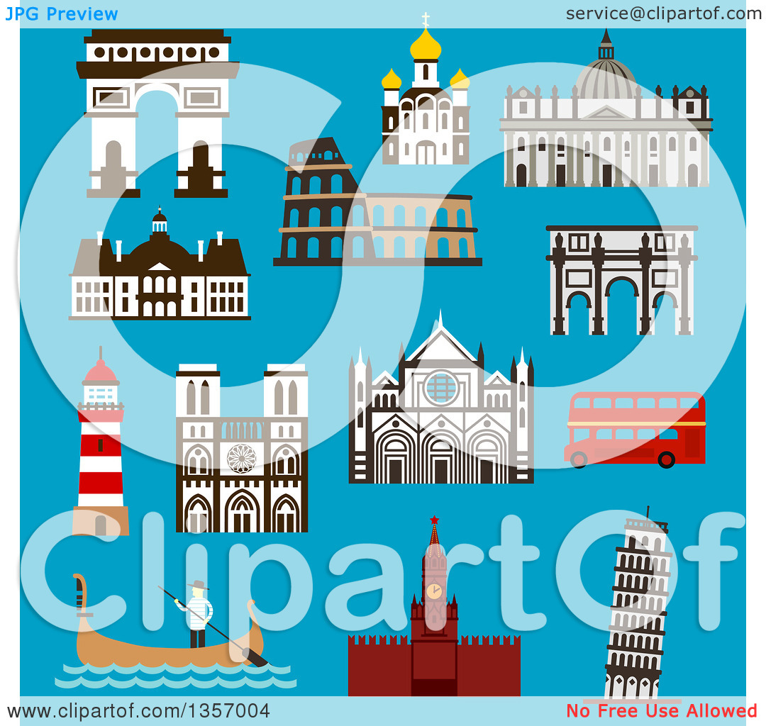 Clipart of Flat Design Architectural Landmarks of Italy, France.