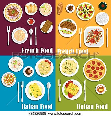 Clip Art of Italy and France cuisine dishes k35826959.