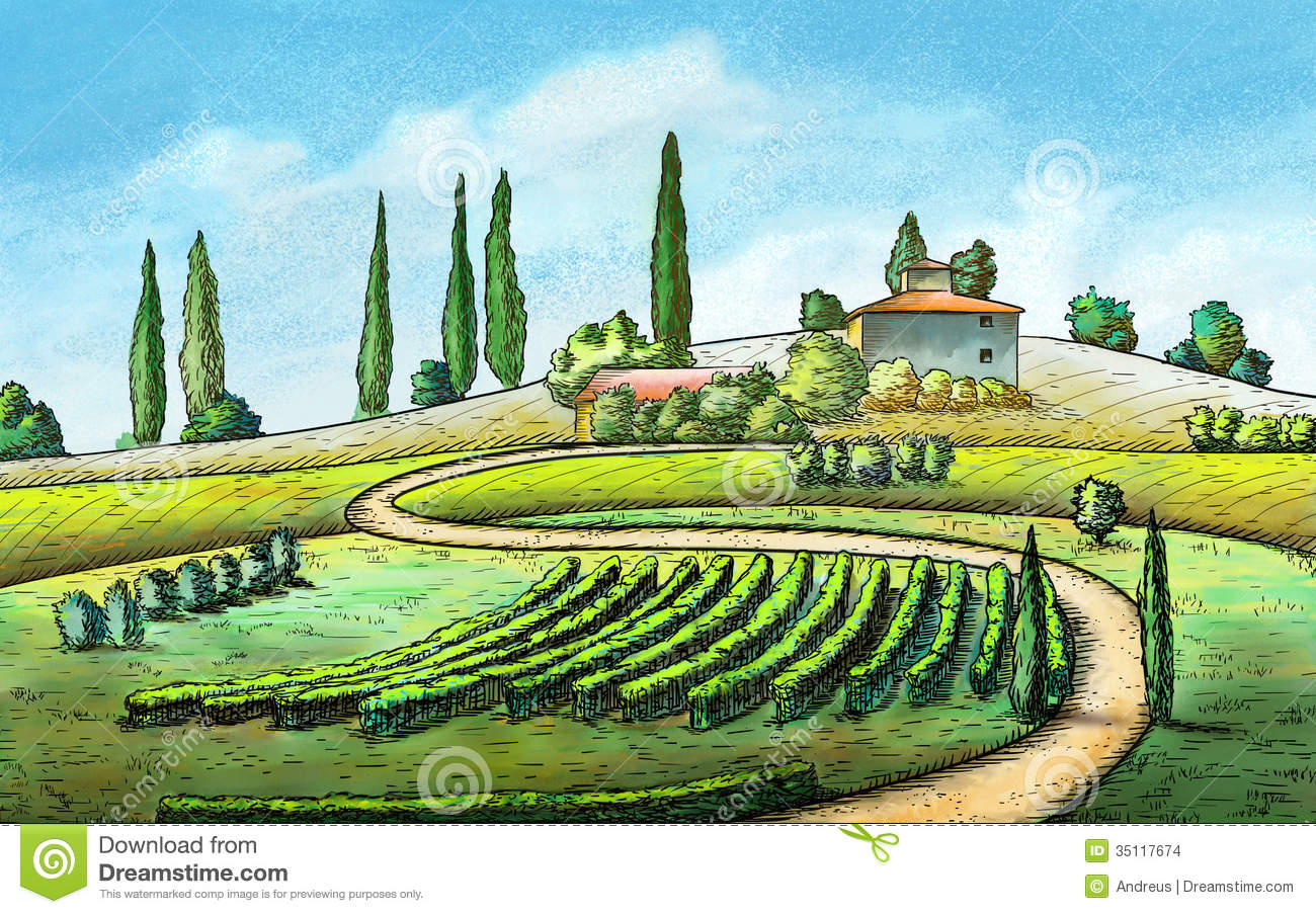 Italy landscape clipart.