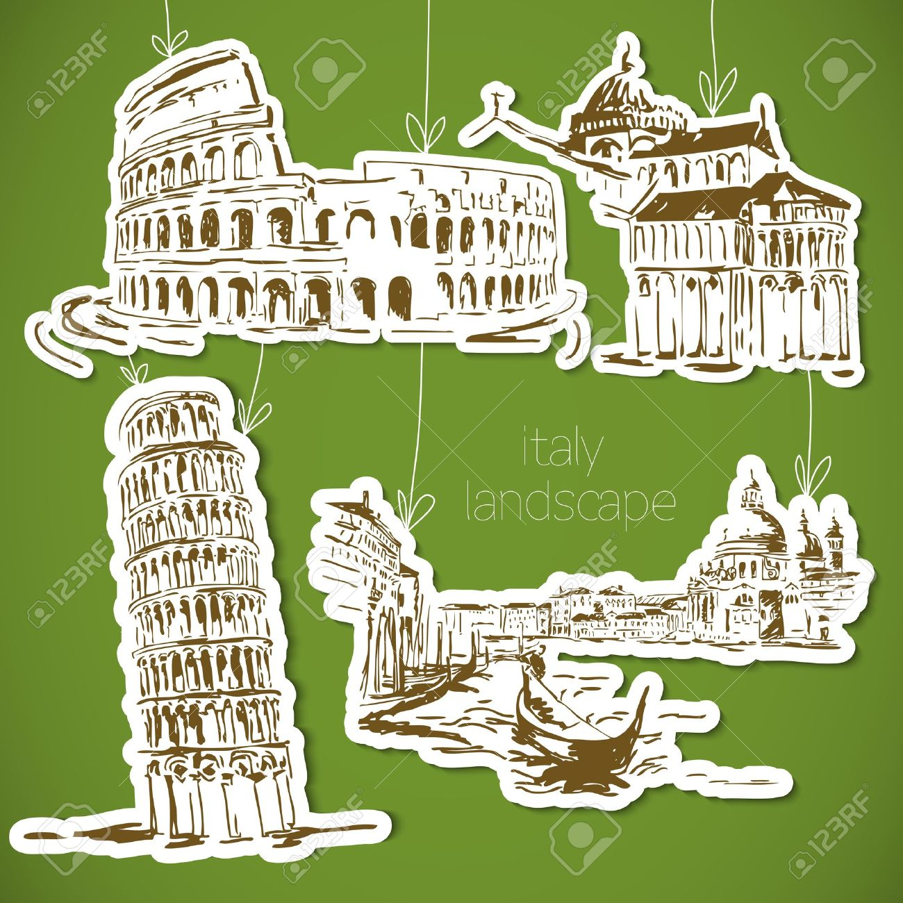 Italy Hand Drawn Landscape In Vintage Style Royalty Free Cliparts.