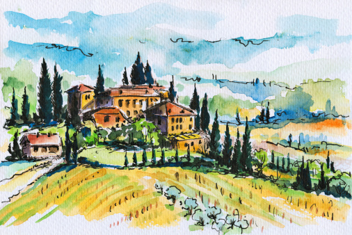 Landscape Italy Clip Art, Vector Images & Illustrations.