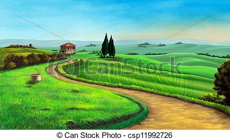Clip Art of Tree and landscape.