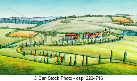 Clipart of Rural landscape in Italy. Original watercolor.