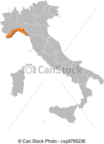 Clip Art Vector of Map of Italy, Liguria highlighted.