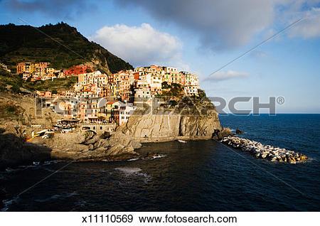 Stock Photograph of Italy, Liguria, Manarola, sunset x11110569.