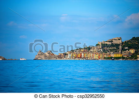 Stock Illustrations of Cityscape of Portovenere.