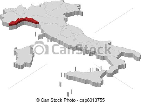 Clipart Vector of Map of Italy, Liguria highlighted.