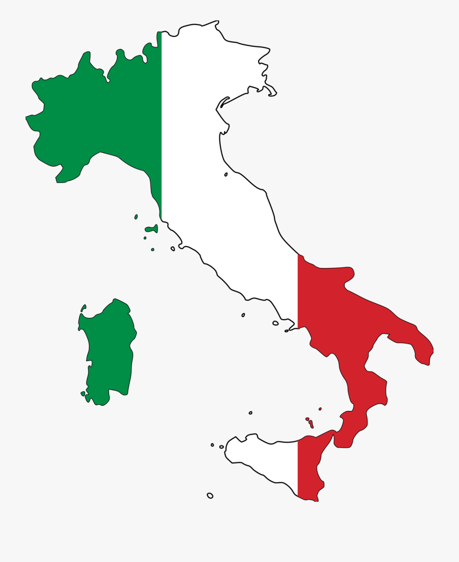 Flag Italy Map Outline , Free Transparent Clipart.