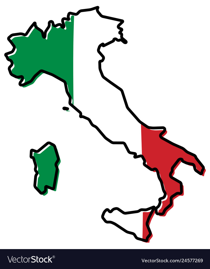 Simplified map of italy outline with slightly.