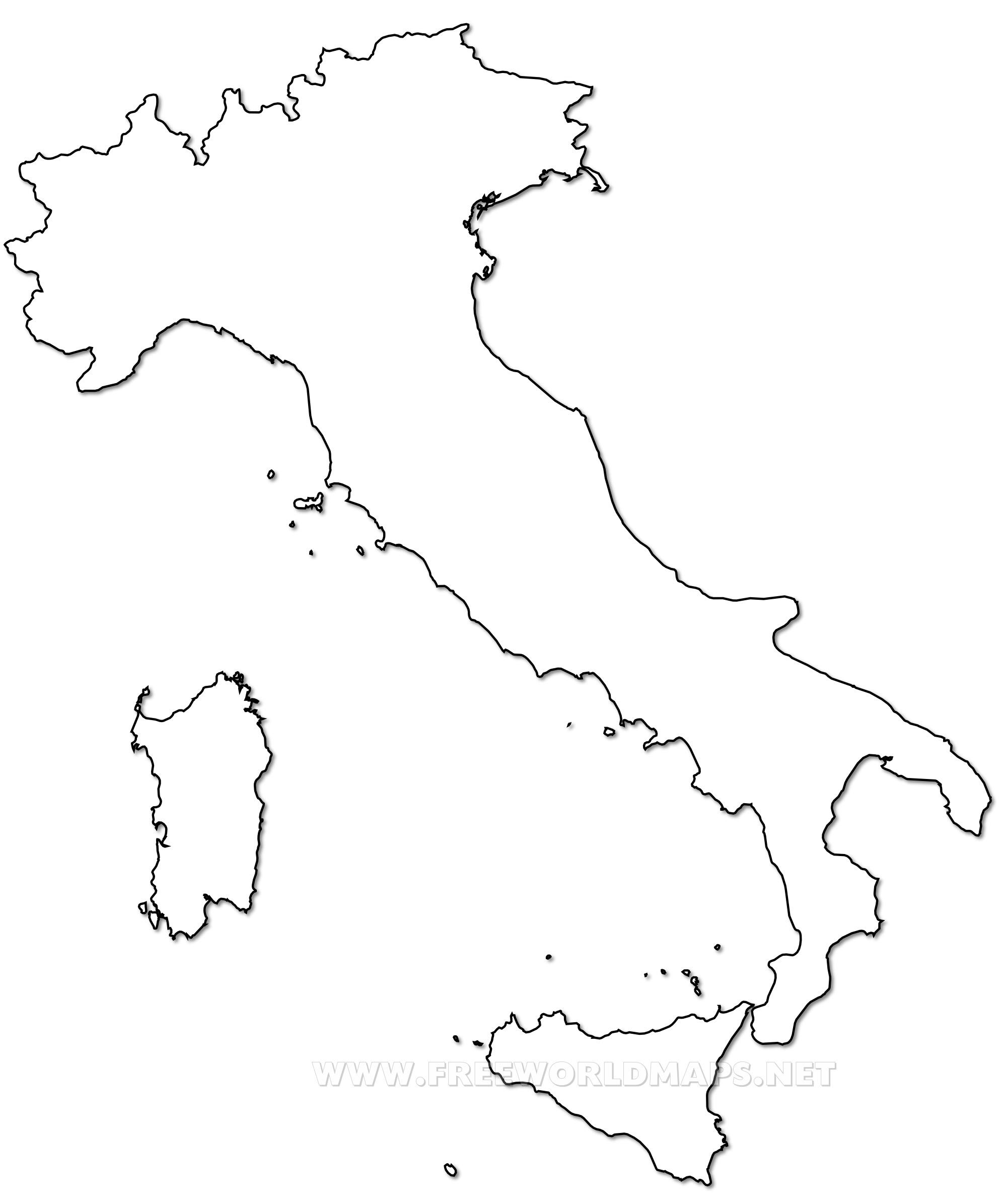 Italy map outline.