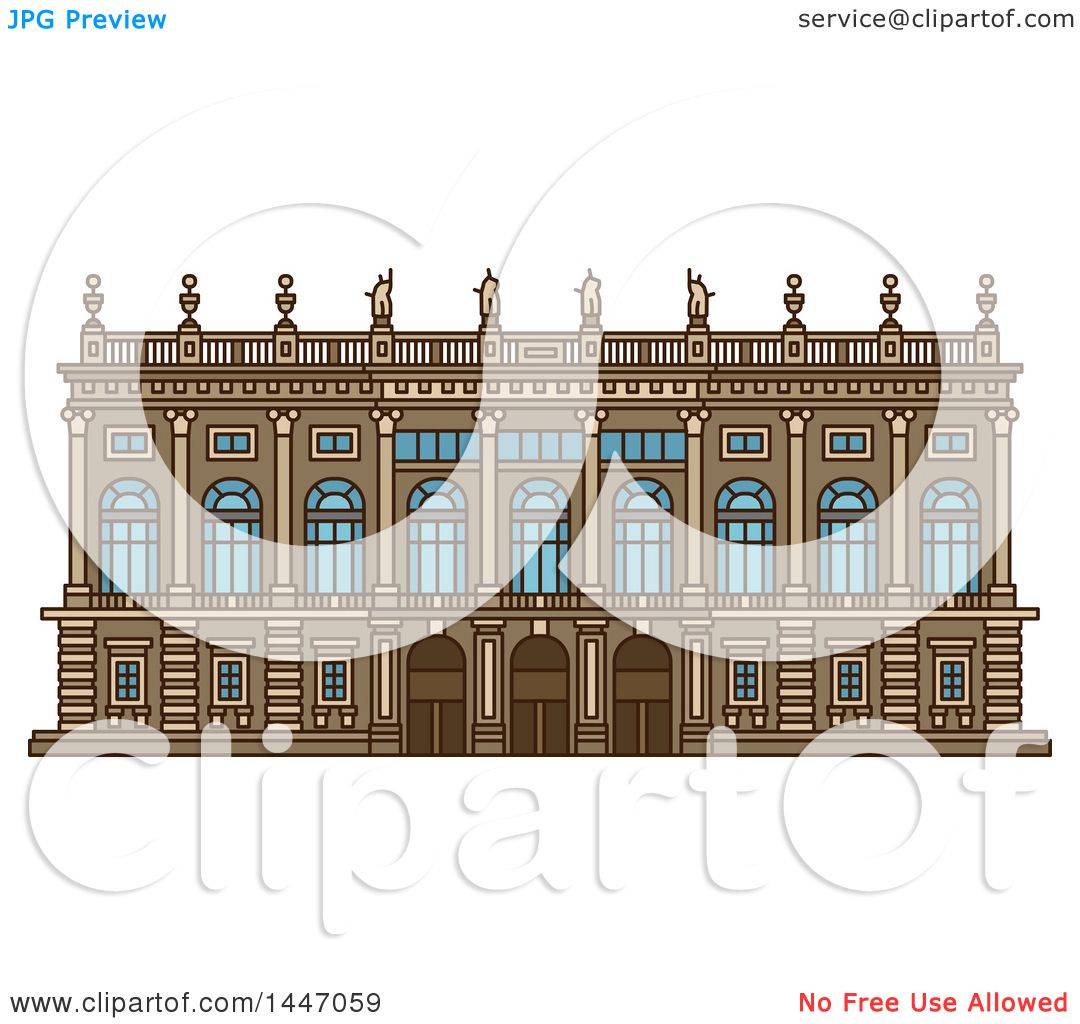 Clipart of a Line Drawing Styled Italian Landmark, Palazzo Madama.