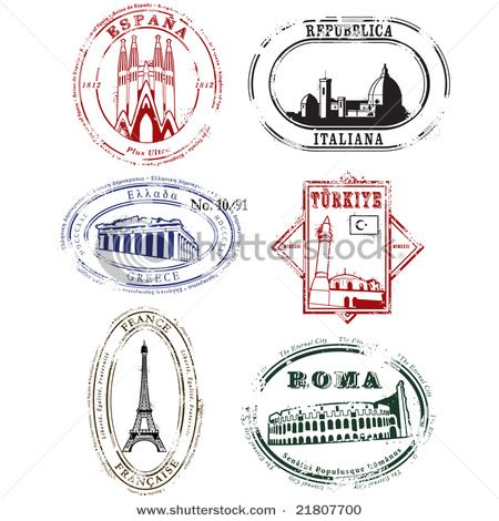 Travel stamps, italy, rome, france.