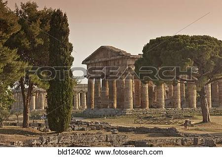 Stock Photo of Ancient ruins in rural landscape, Paestum, Campania.