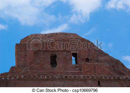 Stock Illustration of The Roman ruins of atichnye in Rome, Italy.