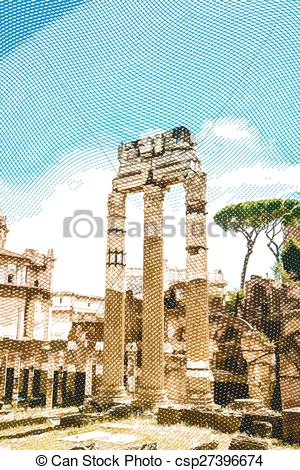 Vectors Illustration of Ruins of the Roman Forum in Rome, Italy.