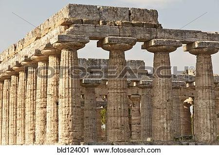 Stock Photography of Ancient ruins in rural landscape, Paestum.