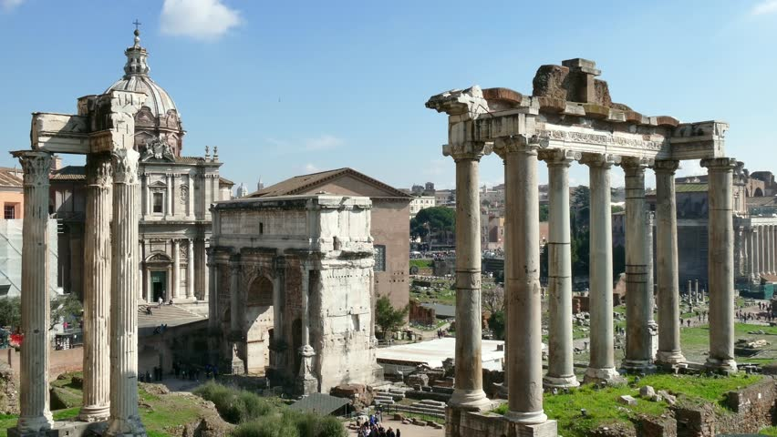 Rome, Italy, Ruins Of Roman Forum, Time.