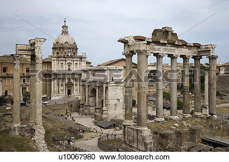 Stock Photography of Roman Forum ruins in Rome, Italy. u10067980.