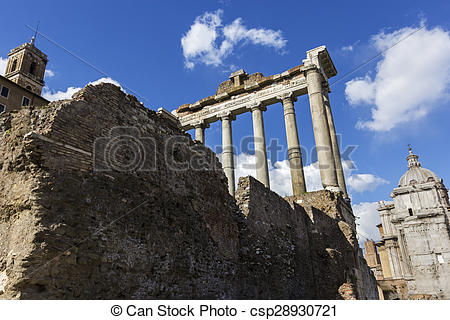 Stock Photo of Temple of Saturn in Rome, Italy.