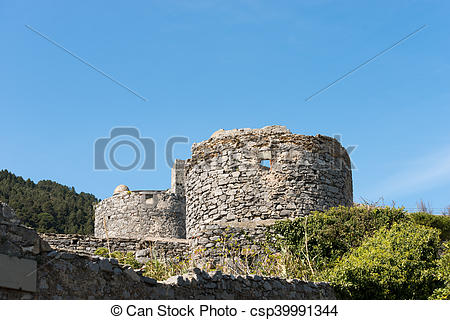 Stock Photo of Windmills Ruins in Portovenere Italy.