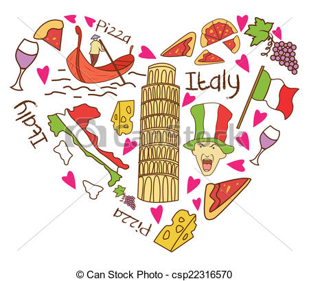Vectors Illustration of Italy Tourism Love Banner csp22316570.