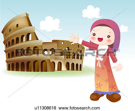 Stock Illustration of tourist attractions, tourism, sightseeing.