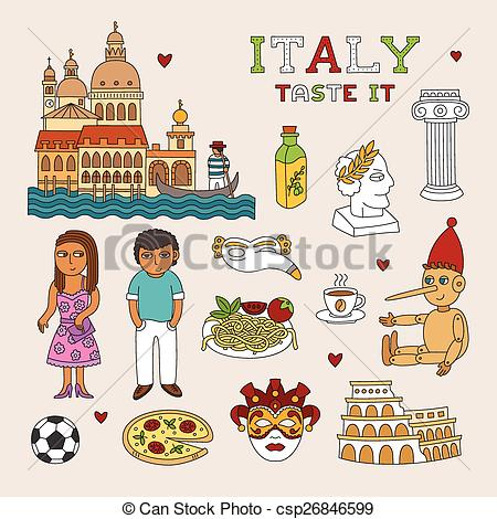 EPS Vectors of Vector Italy Doodle Art for Travel and Tourism.