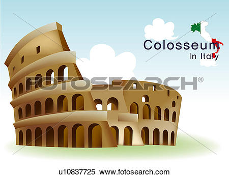 Stock Illustration of national flag, italy, map, travel, colosseum.