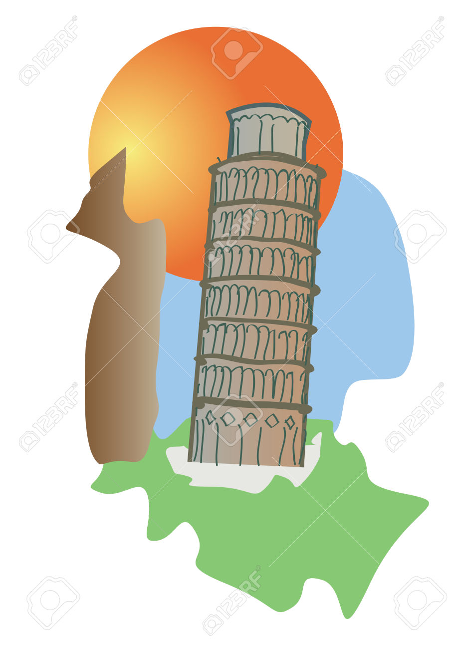 Pisa Tower Of Italy Tourism Icon Royalty Free Cliparts, Vectors.