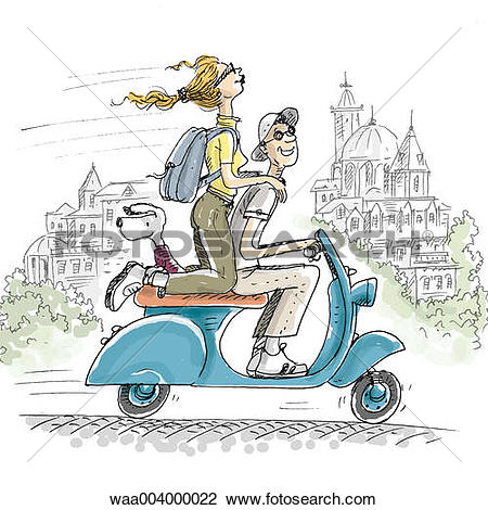 Clip Art of drawing, vehicles, convey, tourists, tourist, tourism.