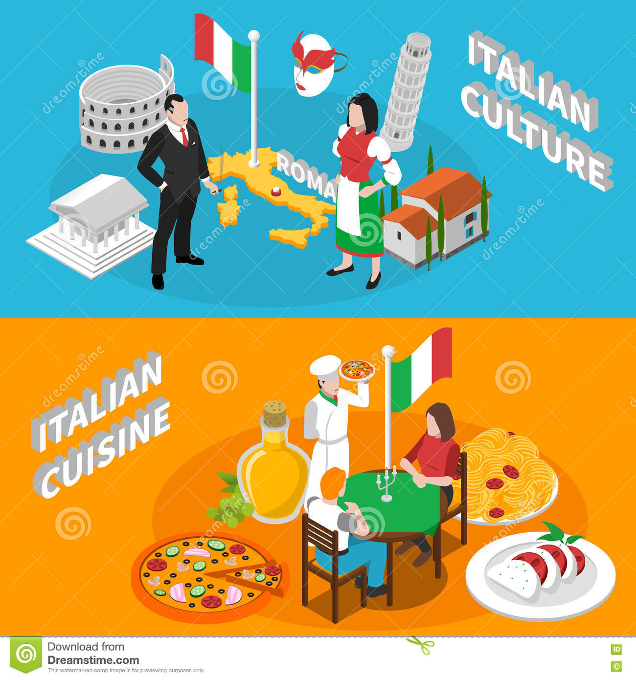 Italy Tourism 2 Isometric Banners Poster Stock Vector.