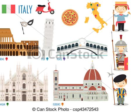 EPS Vector of Italy Flat Icon Set Travel and tourism concept.