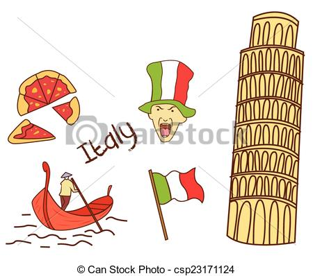 Vector Illustration of Italy Tourism Object Collection csp23171124.