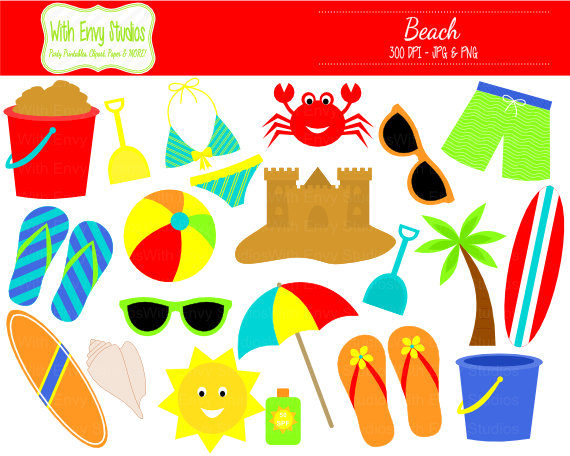 Beach items clipart.