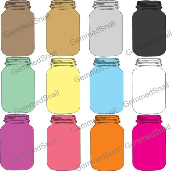 Mason jar clip art, colored jar clipart illustrations in.