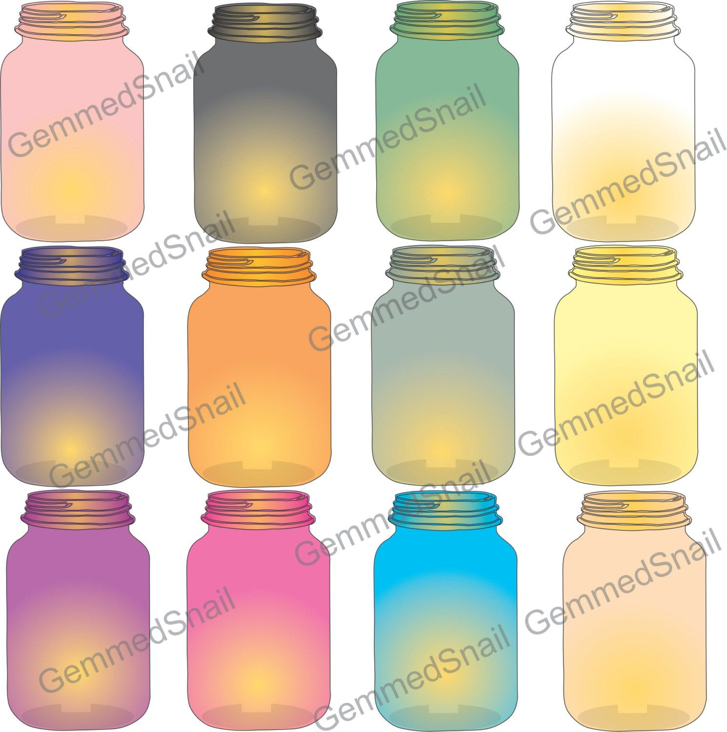 Lantern clipart mason jar clipart colored glass by.