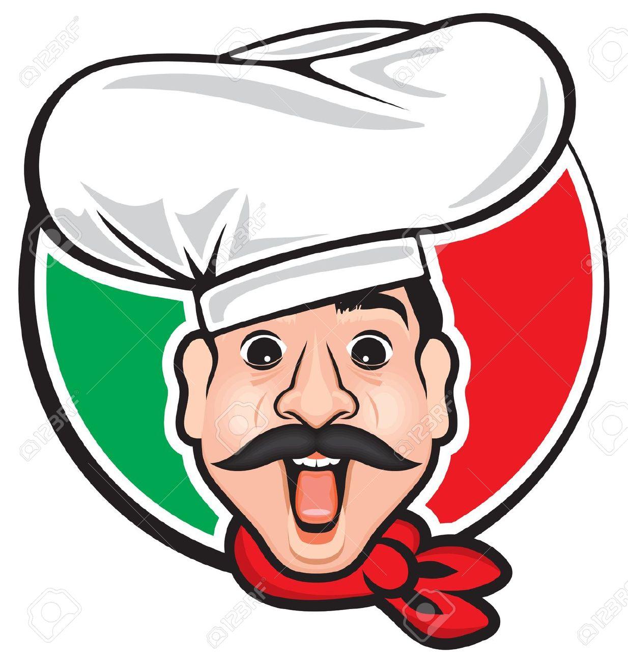 Italian Restaurant Logo With Flag: Italiano Clipart