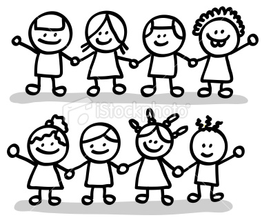 4 Friends Holding Hands Clipart.