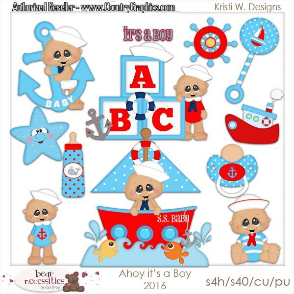 Ahoy Its a Boy Nautical Clipart Set.