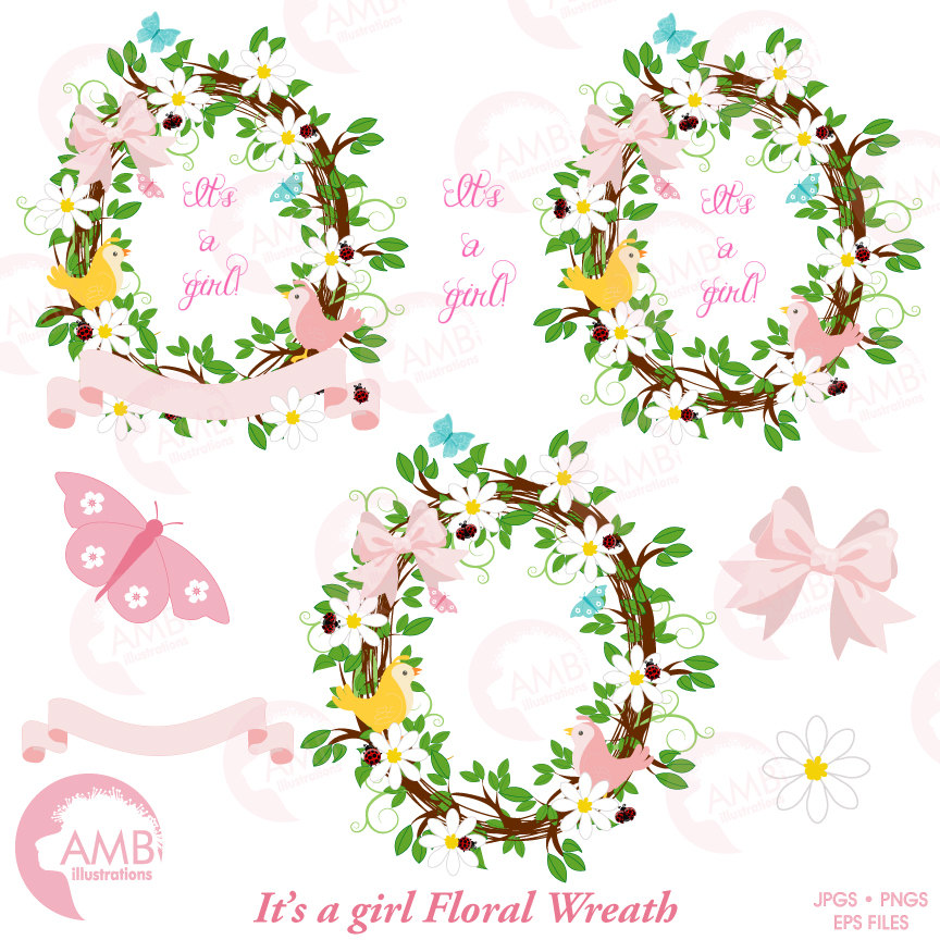 Girl shower clipart, Floral wreath clipart, Floral wreath, It's a girl  clipart, AMB.